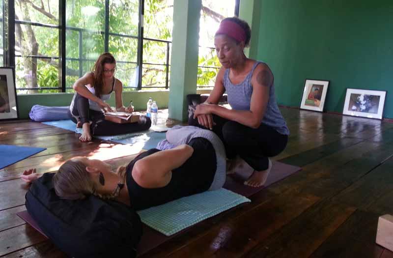 Corinna Stahlhofen teaching on the Yoga Alliance Prenatal Yoga Teacher Training in Goa, India