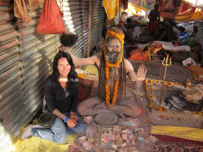 Joanne and One Eyed Baba at Kumbh Mela